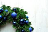 Blue ornament balls Christmas wreath — Stock Photo