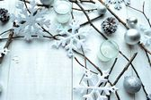 Silver and white snow flakes with pine cones — Stock Photo