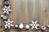White snow flakes with candles — Stockfoto