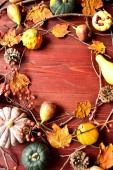 Pumpkins with autumn leaves.frame — Stock Photo