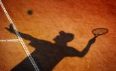 Clay tennis court and player concept — Stock Photo