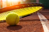 Tennis ball on a tennis court — Stock Photo