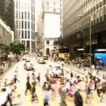 Streets of Hong Kong City. Defocus Crosswalk. Sunset. — Stock Photo #61483829