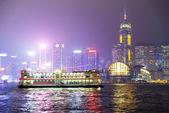 Imbarcazione da diporto la notte di Hong Kong. — Foto Stock