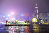 Pleasure boat on the night of Hong Kong. — Stock Photo