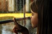 Girl and rain — Stock Photo