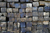 Wooden logs sleepers — Stock Photo
