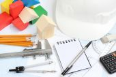Drawing tools project concept home building — Stock Photo