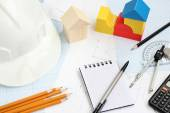 Drawing tools project concept home building — 图库照片