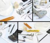Rawing tools project concept home building — Stock Photo