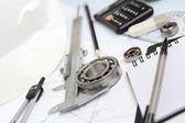 Bearing rawing tools project — Stock Photo