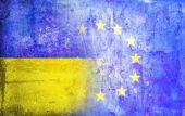 Politischen Beziehungen Europäische Union ukrainischer Flagge Grunge Vintage retro-Stil. — Stockfoto