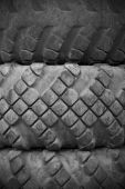 Old tires black and white photo — Stock Photo