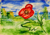 Bright poppy on a background of an idyllic landscape, watercolor — Stock Photo