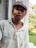 Old man celebrates Songkran festival in Thailand — Stock Photo