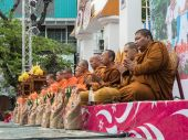 Monks on Alms Ceremony in Thailand — Stock Photo