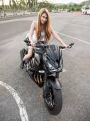 Model With Sport Bike — Stock Photo