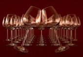Empty wineglasses on a row — Stock Photo