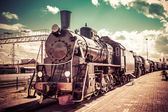 Old steam locomotive, vintage train. — Stock Photo