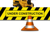 Under construction signboard with traffic cone — Foto Stock
