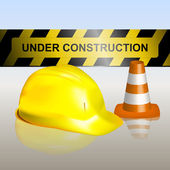 Under construction signboard with traffic cone and helmet — Stock Vector