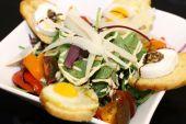 Delicious salad on white bowl — Stock Photo