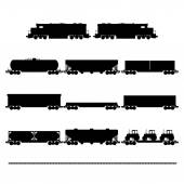 Wagons and locomotives — Stock Vector