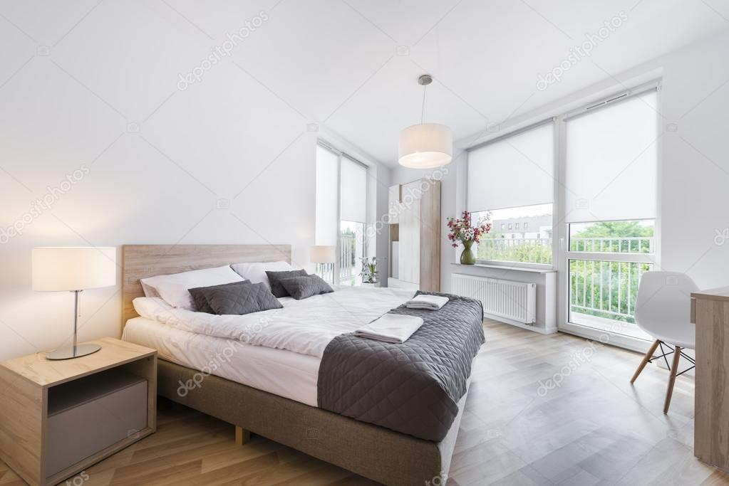 Chantier deco chambre scandinave. Stock photo modern and comfortable bedroom interior