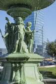 Detail of historic Fountain at Bankowy Square in Warsaw . — Stock Photo