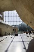 Futuristic hall in Museum of History of Polish Jews in Warsaw. — Stock Photo