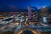 Panorama of Warsaw downtown during the night  — Stock Photo