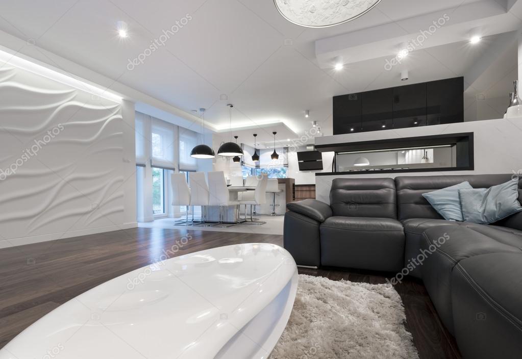 Salotto Con Cucina Moderna Bianco Interior Design : Interni dal design moderno soggiorno con cucina — foto