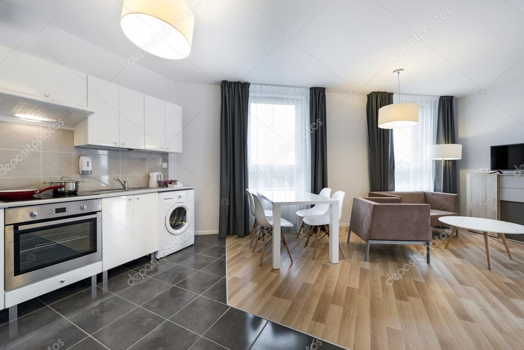 Dise o interior moderno living comedor con cocina fotos for Imagenes de cocina comedor