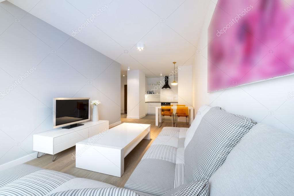 Modern interieur woonkamer en keuken — Stockfoto © jacek_kadaj ...