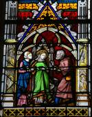Stained glass window in Rouen Cathedral, France — Stock Photo