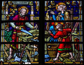 Joseph, Mary and Jesus - Stained Glass in Mechelen Cathedral — Stock Photo