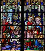 Joseph and Maria refused at a Bethlehem tavern at Christmas - St — Stock Photo