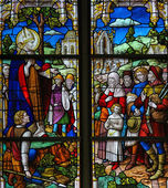 Saint Rumbold - Stained Glass in Mechelen Cathedral — Stock Photo