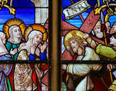 Stained Glass - Jesus meets Mary on the Way of the Cross — Stock Photo