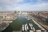 Aerial view on the Yacht Harbor at the Bonaparte docks in Antwer — Stock Photo
