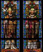 Stained Glass of Saint Gregorius and Saint Ambrosius in Den Bosc — Stock Photo