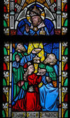 Stained Glass window depicting the Bible verse Deuteronomium 8:1 — Stock Photo