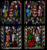 Stained glass window depicting the Annuciation and the Visit of — Stock Photo