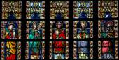 Stained glass window depicting Catholic Saints in Sint-Truiden C — Stock Photo