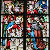 Stained Glass - Nativity Scene at Christmas — Stock Photo