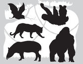 Silhouettes  animals vector — Stock Vector