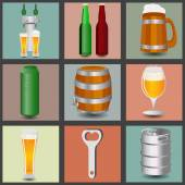 Set icons beer equipment, for creating your own infographics.  — Stock Vector