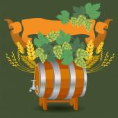 Barrel mug with wheat and hops — Stock Vector