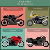 Set of elements sportbikes for creating your own infographics or — Stock Vector