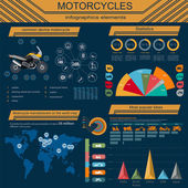 Uppsättning av motorcyklar element, transport infographics — Stockvektor